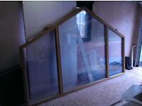Oak framed large gable end window, new, with powder coated grey aluminium cladding