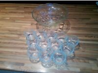 punch bowl & 12 glasses £6 or nearest offer