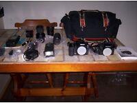 PENTAX K10D AND P30 CAMERA'S WITH LENSES AND ASSESSORIES