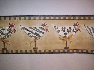 CHICKENS WITH ANIMAL PRINT PREPASTED WALLPAPER BORDER # MCB5260