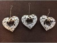 3 shabby chic heart candle holders