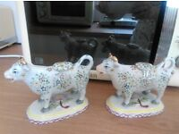 staffordshire pottery, cow creamer jugs