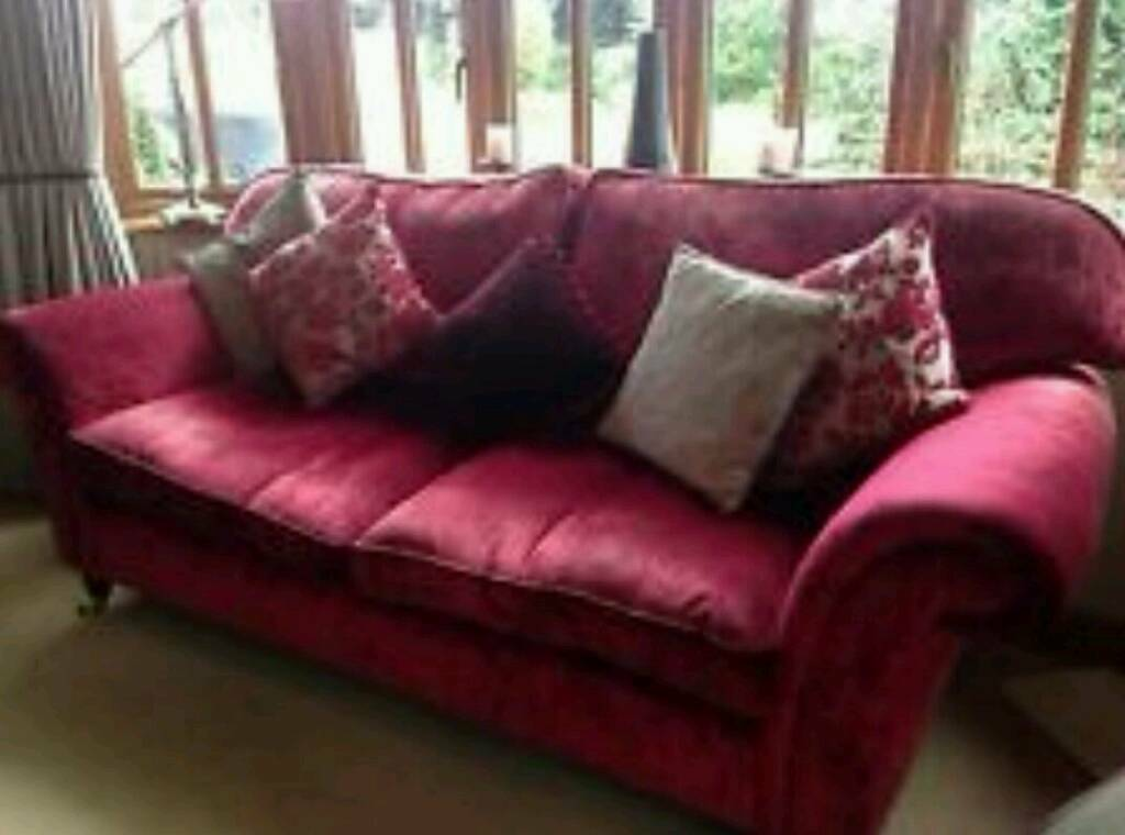 Laura Ashley Raspberry Velvet Large Sofa