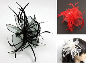 Feather-Twist-Loop-Ruffle-WEDDING-HAIR-FASCINATOR-Hair-Accessory-Comb-Fitting