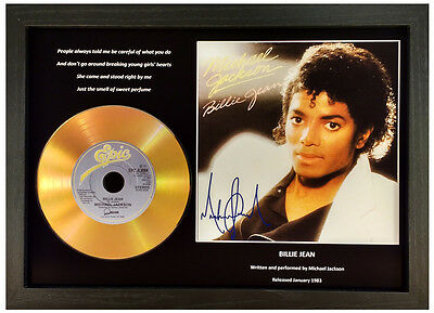MICHAEL JACKSON - BILLIE JEAN - SIGNED GOLD DISC DISPLAY