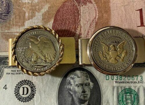 COOL Gold-Tone Money Clip w/Silver Standing Liberty Half + Kennedy Half COBM-127