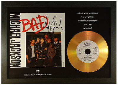 MICHAEL JACKSON 'BAD' SIGNED GOLD DISC RECORD DISPLAY