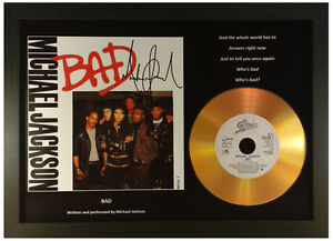 MICHAEL JACKSON 'BAD' SIGNED GOLD CD DISC RECORD DISPLAY COLLECTABLE MEMORABILIA