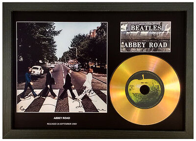 THE BEATLES 'ABBEY ROAD' SIGNED GOLD CD DISC DISPLAY COLLECTABLE MEMORABILIA