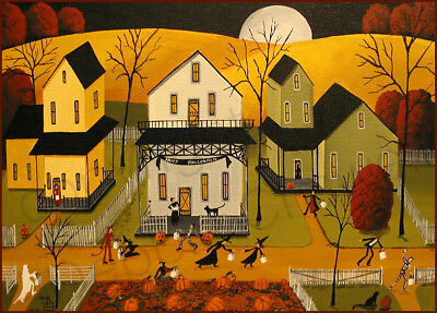 Halloween witch devil JOL costume black cat Giclee ACEO print folk art Criswell