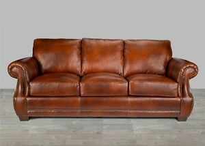 Leather Sofa Brown 100 Top Grain Alligator Embossing