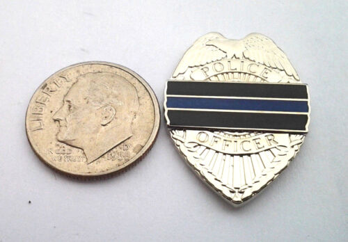 """POLICE THIN BLUE LINE HONOR BADGE (SMALL 1"""") Law Enforcement Hat Pin P02792 EE"""