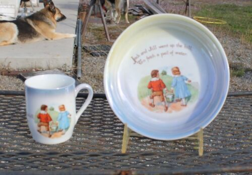Vintage G.W. Co. Germany Jack and Jill Child Bowl/Cup Set Lusterware