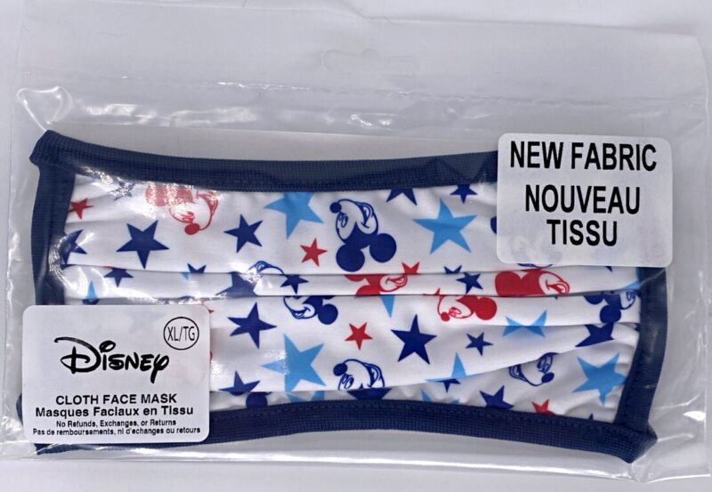 Disney Parks Mickey Mouse Patriotic America WDW Reusable Cloth Face Mask X-LARGE