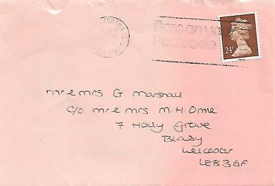 QEII 24p ON COVER LEICESTER TO PLYMOUTH WITH LETTER INSIDE REF 647