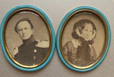 Antique Imperial Russian ? Gold & Blue Enamel Miniature Photo Frames General