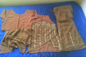 Four piece multi style Brown suit dress Indian Bollywood size Small Harris Park Parramatta Area Preview