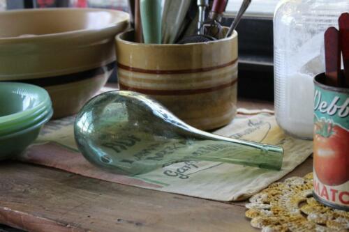 Antique Round Bottom Bottle, No Mold Seam, No Pontil Mark Hand-blown Green Glass