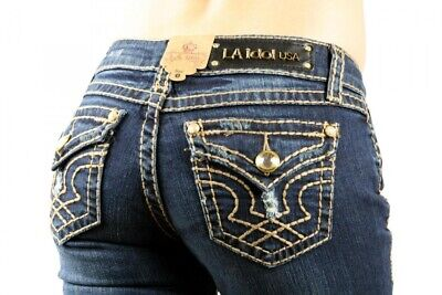 LA IDOL Dark Blue Brown Stitch Denim Distressed Ripped Boot Cut Rhinestone Jeans ()