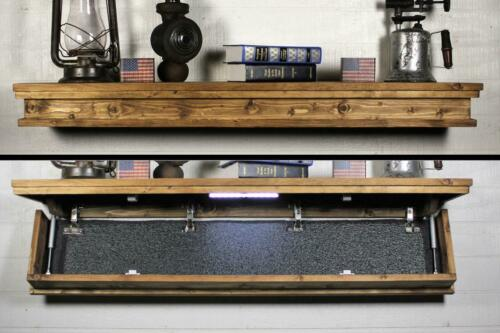 Rustic Floating Shelf with Hidden Compartment. 47 Inch Gun Concealment Furniture