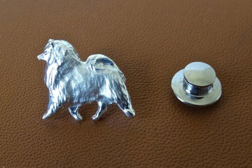 Small Sterling Silver Keeshond Moving Study Lapel Pin