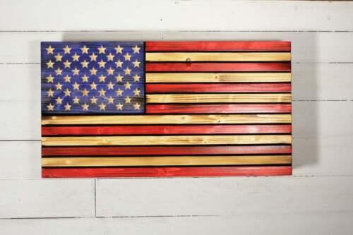 Wooden American flag with Hidden Gun Storage. Concealment flag