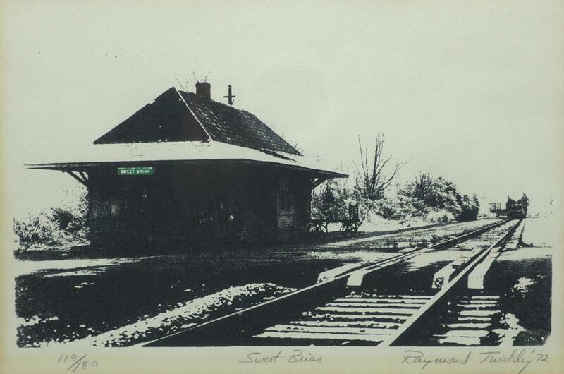 Sweet Briar Train Depot Print Original Photolithography Raymond Twiddy 1972 Vtg