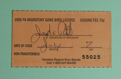 1998 Pennsylvania Resident Migratory Game Bird Hunting License Tag...Free Ship!