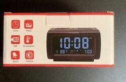DreamSky DS206 Alarm Clock FM Radio USB Port Temperature Black