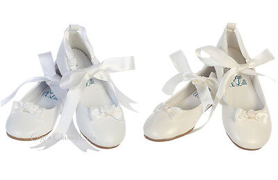 New Toddler Kids Girls White Ivory Dress Shoes Ballet Youth Ballerina Flats - Girls Ivory Flats