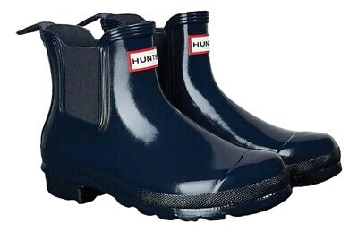 SALE New Ladies Gloss Hunter Chelsea Waterproof Ankle Boots Navy Size UK...