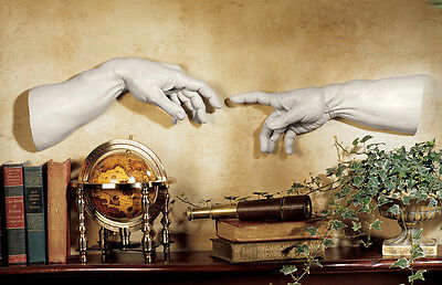 Creation hands by Michelangelo from Sistine Chapel Vatican Wall Sculpture relief