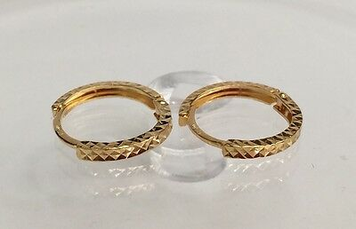 18k Solid Yellow Gold Cute Hoop Kids Earrings, Diamond Cut (18k Diamond Cut Hoop Earrings)