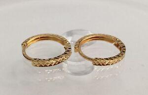 18k Solid Yellow Gold Cute Hoop Kids Earrings Diamond Cut 0 80grams