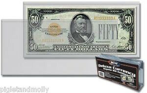 100 REGULAR BCW DELUXE CURRENCY SLEEVE BILL PAPER NOTE MONEY HOLDERS SEMI RIGID