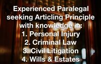 Paralegal seeking Principle for Articling