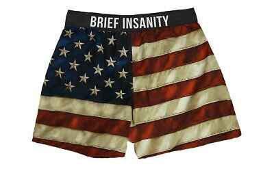 Brief Insanity Men's Boxer Shorts American Flag USA Underwear Boxer Shorts