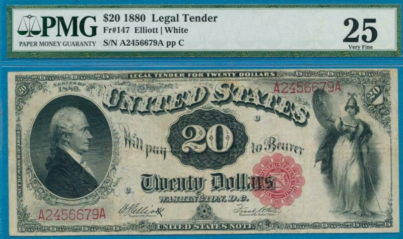 $20 1880 FR.147 LEGAL TENDER UNITED STATES NOTE RED SEAL PMG VF25
