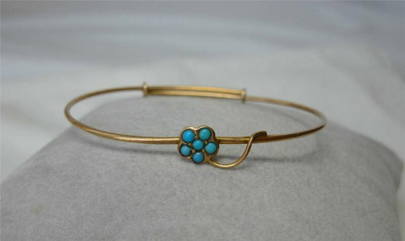 "Turquoise Victorian 12K Gold Bracelet Bangle Small Size 6"" Flower Art Deco"