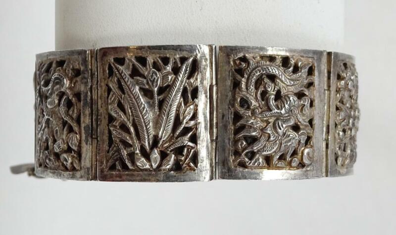 Antique Chinese Silver Cutout Pierced Shadowbox Dragon Florals 8 Panel Bracelet