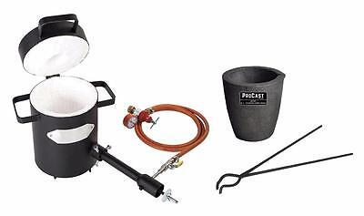 "4 Kg Propane Metal Casting Furnace Kit w/ Graphite Foundry Crucible 19"" Tongs"