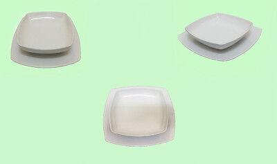 Servizio di 12 piatti Tokio piani fondi quadrati bianchi piatto quadro da casa