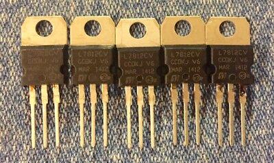 Lm7812cv 5 Pcs Positive 12 Volt Voltage Regulator  12v 1a To220