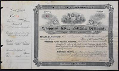 VERY Rare 1896 New Jersey Whippany River Railroad Company Stock #15 NJRR