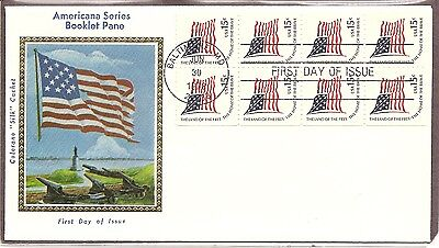 US SC #1598a Flag FDC .Booklet pane of 8 . Colorano Silk Cachet.