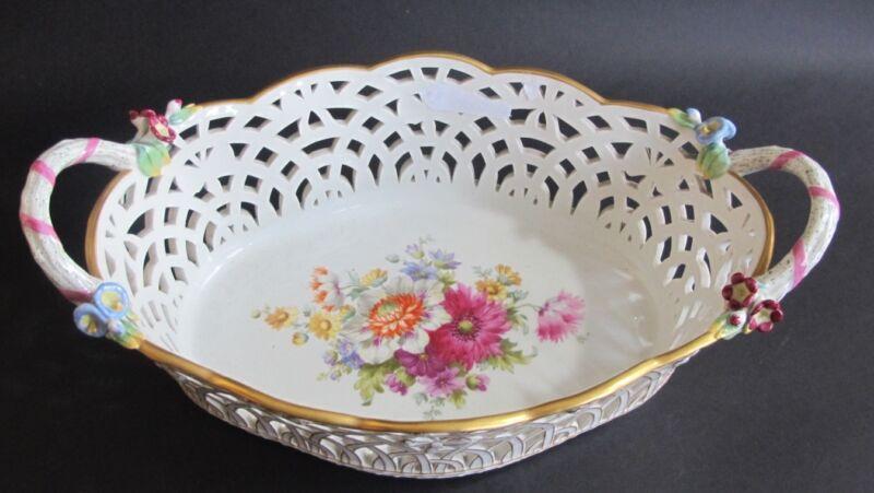 """Superb Signed KPM Reticulated 12"""" Porcelain Bowl MINT c. 1900  German Porcelain"""
