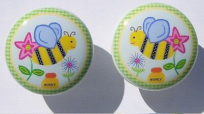 (2 SET  BUMBLE BEE SPRING GARDEN GIRL KID DRESSER DRAWER KNOBS MADE AS ORDERED)