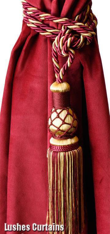 Elegant Burgundy/Gold Window Treatment Curtain Drapery Tassel Rope Cord Tie-back