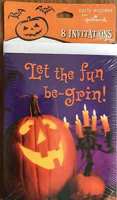 HALLMARK HALLOWEEN PARTY INVITATIONS, 8 PACK, LET THE FUN BE-GRIN, NEW - Fun Halloween Invitations