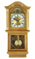 Bedford Clock Collection Classic Chiming Wall Clock with Swinging Pendulum